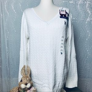 U.S. Polo Assn. Cable Knit V-Neck Sweater-NWT-XXL